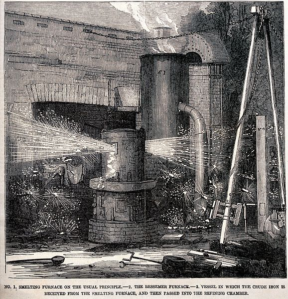 File:Engineering; a smelting furnace. Wood engraving. Wellcome V0024508.jpg