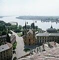 Esztergom, Víziváros, Loyolai Szent Ignác-templom, a Prímási palota és a Mária Valéria híd maradványai. Fortepan 85474.jpg