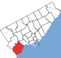 Etobicoke-Lakeshore in relation to the other Toronto ridings (2015 boundaries).png