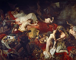 The Death of Sardanapalus - Eugène Delacroix  La Mort de Sardanapale, 392 cm × 496 cm (145 in × 195 in) from the Louvre