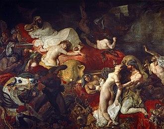 The Death of Sardanapalus - Eugène Delacroix  La Mort de Sardanapale, 392 cm × 496 cm (145 in × 195 in) from the Louvre