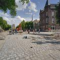 Exterieur, overzicht Markt in de richting van de kerk tijdens bestratingswerkzaamheden - Geertruidenberg - 20321482 - RCE.jpg