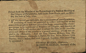 Independence National Historical Park - Extract From Minutes held in State House yard, 1792