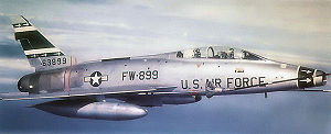 354th Fighter Wing - North American F-100F-10-NA Super Sabre Serial 56-3899 of the 356 TFS being aerial refueled over Aviano Italy, 1960