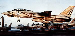 F-14A VF-21 landing on USS Constellation (CV-64) 1987.jpg