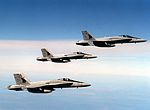 F-18A Hornets of VFA-132 in flight in 1989.JPEG