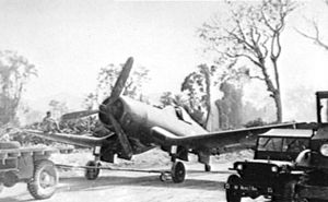 No. 14 Squadron RNZAF - A 14 Sqn F4U-1 on Bougainville, 1944.