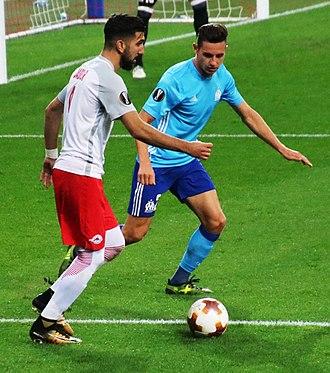 Florian Thauvin - Thauvin (in blue) in action against Salzburg in September 2017