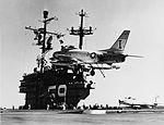 FJ-3 of VF-21 lands on USS Forrestal (CVA-59) in Feburary 1956.jpg