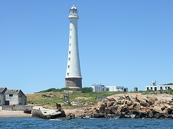 English: The Lobos Island Lighthouse about 8 k...