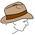 Fedora line drawing.svg
