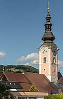 Feldkirchen Stadtpfarrkirche Mariae Himmelfahrt Kirchturm 04072016 3649.jpg