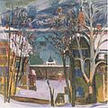 Felix Esterl - Verschneite Häuser am Wörthersee - ca1928.jpeg