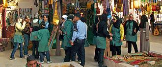 Education in Jordan - Image: Female students in Jordan on field trip at Jerash souvenir shops
