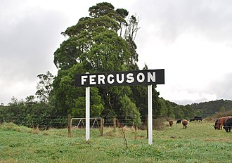 Ferguson, Victoria - The former station sign from the closed railway station at Ferguson