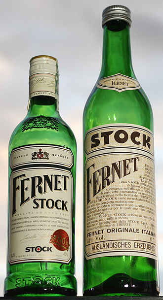 Fernet Stock - Two different Fernet Stock bottles, produced in the Czech Republic and Italy (2007)