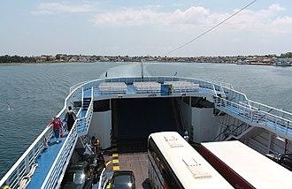 Keramoti - Image: Ferry leaving Keramoti