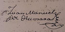 Firma de Juan Manuel de Humara en su Pleito de Hidalguía (1781)