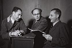 Flickr - Government Press Office (GPO) - DIRECTOR OF THE HABIMA THEATRE, DR. MAX BROD WITH STAGE DIRECTORS.jpg