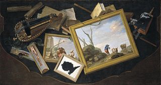 Trompe-l'œil of a Table in a Mess with Paintings, a Hurdy-Gurdy, Books and Other Objects