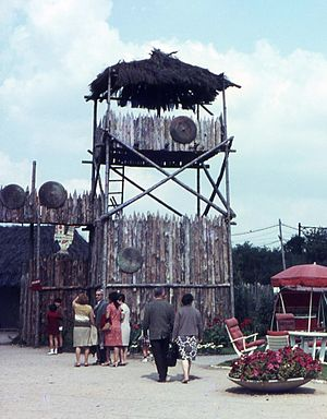Parc Floral de la Source - Entrance to the Gaulois village at the Floralies Internationales 1967