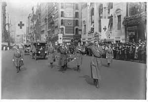 Florence Jaffray Harriman - Heading the Washington Ambulance Corps in a Red Cross parade