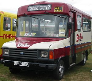 Bus transport in the United Kingdom - A van derived Ford Transit minibus with Carlyle bodywork, used on Hail and ride service from 1986