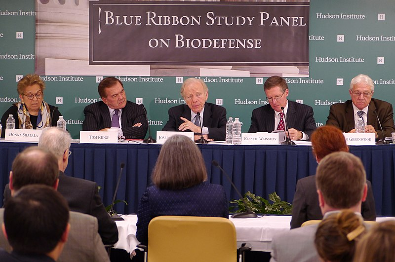 Former U.S. Senator Joe Lieberman addresses biodefense with former Secretary of Homeland Security Tom Ridge and former Secretary for Health and Human Services Donna Shalala at Hudson Institute in 2015.jpg