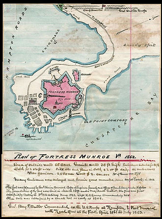 Fort Monroe - Map of Fort Monroe by Robert Knox Sneden, 1862