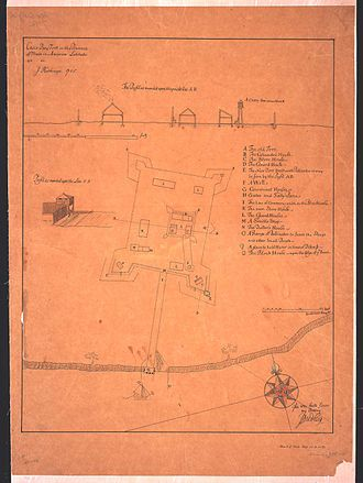 Falmouth, Maine - rendering of Fort New Casco in 1705