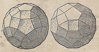 Rhombicosidodecahedron - Orthogonal projections in Geometria (1543) by Augustin Hirschvogel