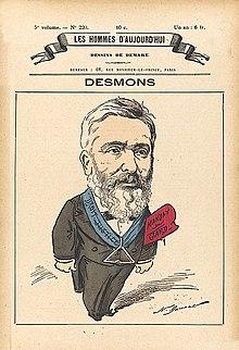 Desenho a cores de um homem barbudo, fantasiado, usando um colarinho de maçom e um mandato de deputado de Gard.