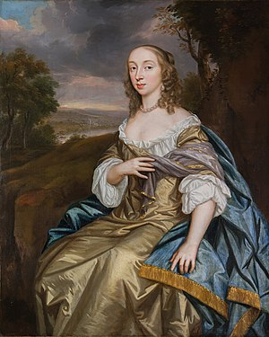 Richard Vaughan, 2nd Earl of Carbery - 2nd wife: Frances Vaughan, Countess of Carbery (d.1650) thought to be by Mary Beale in 1670 (after a now lost Peter Lely painting)