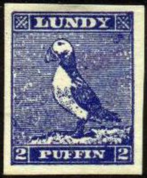 Chinchen Collection - 1929 Lundy puffin stamp.