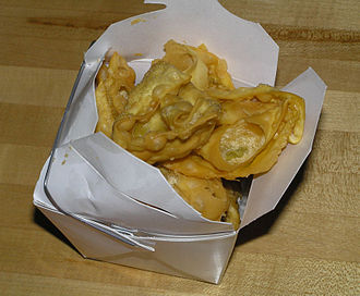 American Chinese cuisine - Carryout Chinese food is commonly served in a paper carton with a wire bale, known as an oyster pail.