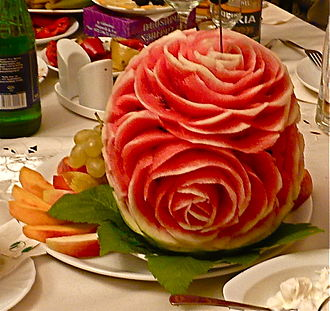 Fruit carving - A fruit carving on a watermelon in Armenia