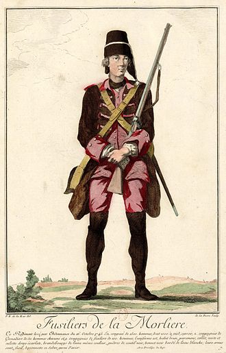 Fusilier - A member of the French Army's Fusiliers de La Morlière, armed with a flintlock, circa 1745–49