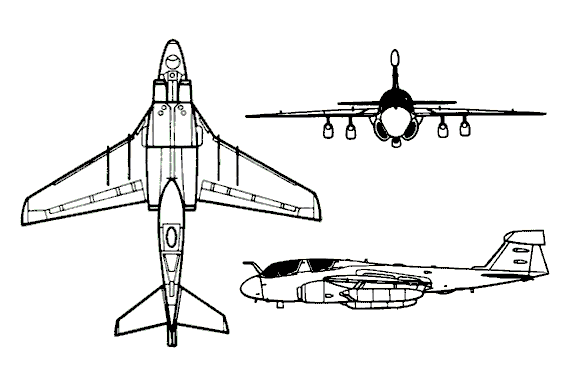 Orthographically projected diagram of the Grumman EA-6B Prowler.