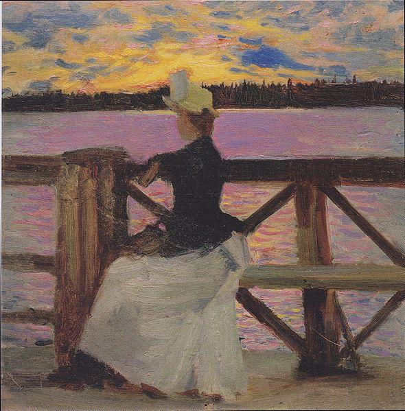 File:Gallén-Kallela - Marie Gallén auf der Kuhmoniemi-Brücke - 1890.jpeg