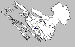 Map of the Galovac municipality within the Zadar County