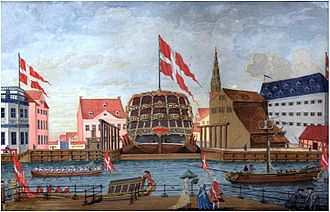 Royal Danish Naval Museum - A painting in the museum showing  ship at Old Dock, not far from the current museum building (c. 1750)