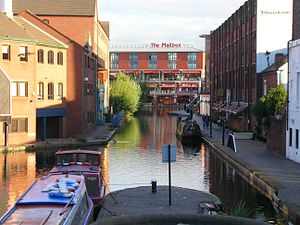Worcester and Birmingham Canal - The start of the Worcester and Birmingham Canal at Gas Street Basin, looking south-east, towards The Mailbox