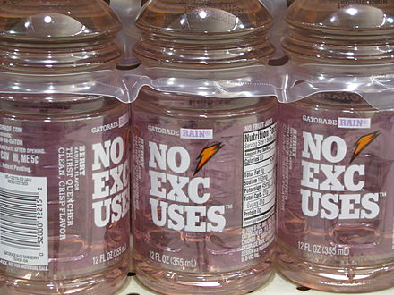 Introduced as Gatorade Ice in 2002, this flavor was re-labeled as Gatorade Rain in 2006 and No Excuses in 2009. Gatorade Rain no excuses.jpg