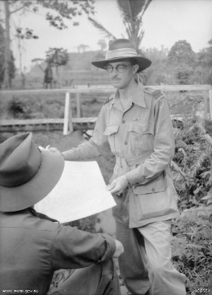 Australia in the War of 1939–1945 - Gavin Long in Lae, New Guinea in July 1944 while attached to the headquarters of New Guinea Force