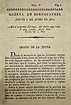 A Gazeta de Buenos Ayres első számának címlapja