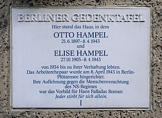 Memorial plaque at the site of the Hampels' former residence, Amsterdamer Strasse 10 in Berlin Gedenktafel Amsterdamer Str 10 (Wedd) Elise und Otto Hampel.jpg