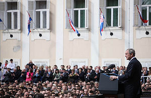 Croatia–United States relations - George W. Bush giving a speech on St. Mark's Square
