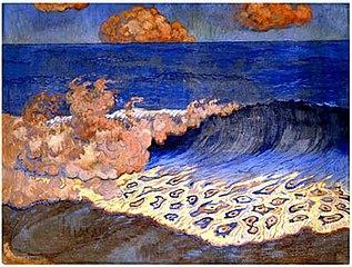 Marine bleue, effet de vague