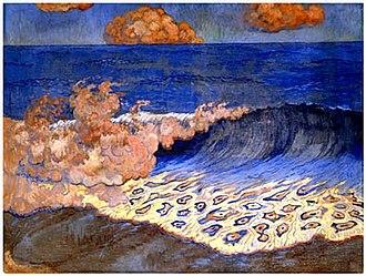Georges Lacombe (painter) - Marine bleue, Effet de vagues, 1893, tempera on toile, 49 x 65 cm, Musée des Beaux-Arts de Rennes