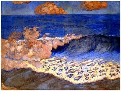 Georges Lacombe-1868-1946-Marine bleue, Effet de vague,circa 1893,peinture à l'oeuf sur toile,43x64,2 cm,Musée des Beaux-Arts de Rennes
